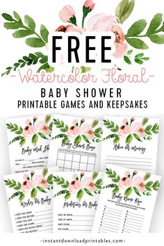 Free Baby Shower Games and Keepsakes Printables – Pink Watercolor Flowers Baby Girl How cute is this free printable set of games and keepsakes! Wishes for Baby, Baby Shower Bingo, Baby Mad Libs, Baby Bingo Baby Shower, Idee Baby Shower, Free Baby Shower Printables, Free Baby Shower Games, Baby Shower Advice, Baby Shower Flowers, Simple Baby Shower, Baby Shower Signs, Floral Baby Shower