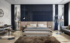 bedroom on Behance Luxury Bedroom Design, Bedroom Bed Design, Master Bedroom, Bedroom Decor, Modern Bedroom Furniture, Contemporary Bedroom, Home Interior, Interior Design, Dark Living Rooms