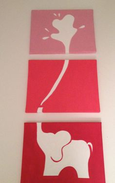 Elephant Painting in Pink by ClarksonStreetCrafts on Etsy, $50.00