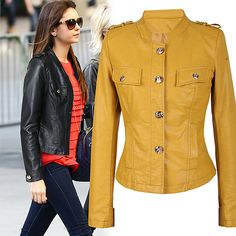 Fashion Stand Collar Single-breasted PU Leather Coat