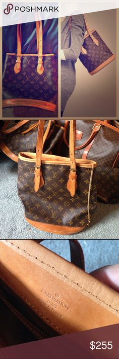 authentic LV bucket bag small 100% authentic Louis Vuitton small bucket bag, in great condition, not much wear to even show in the photos.  Great classic Louis bag!  Strap is adjustable where it is right now is a 8 inch strap drop Louis Vuitton Bags