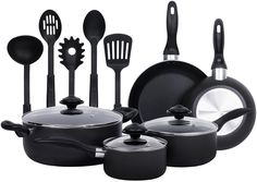 13-Pieces - Heavy Duty Cookware Set - Black, Highly Durable, Even Heat Distribution, Double Nonstick Coating - Multipurpose Use for Home, Kitchen or Restaurant - by Utopia Kitchen ** Click on the image for additional details.