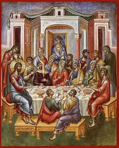 This icon is either the wedding at Cana or the Mystical Supper. Byzantine Icons, Byzantine Art, Religious Icons, Religious Art, Sainte Cecile, Life Of Christ, Jesus Christ, Renaissance Era, Eucharist