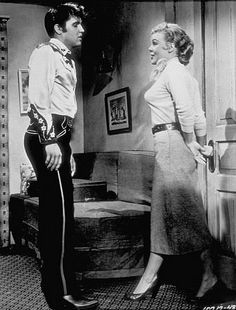 "Elvis Presley and Jana Lund in ""Loving You"" (1957) DIRECTOR: Hal Kanter."