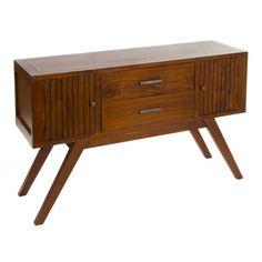 Apadador para comedor fabricado en madera de acacia, con 2 cajones y 2 puertas, color nogal:      Ancho: 35 cm     Largo: 122 cm     Alto: 76 cm