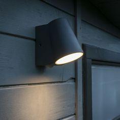 Modern Outdoor Wall Lamp Dark Grey with Motion Sensor incl. Outdoor Garage Lights, Modern Outdoor Wall Lighting, Outdoor Wall Lamps, Garage Lighting, Outdoor Walls, Kitchen Lighting, Living Colors, Exterior Wall Light, House Front