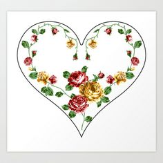 Rose and Heart Art Print Promoters - $25.00