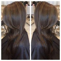 Chocolate brown hair color with dark caramel highlights gives a very, soft natural look. by tanya