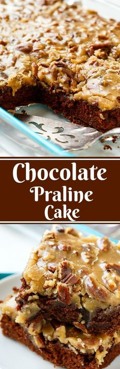 Chocolate Praline Cake makes a delicious southern dessert for Mardi Gras