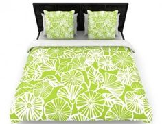 East Urban Home Vine Shadow by Jacqueline Milton Floral Featherweight Duvet Cover Size: King, Color: Aqua/Blue Down Comforter, Comforter Cover, Comforter Sets, Green Duvet Covers, Green Queen, Lime, Green Bedding, Duvet Cover Sizes, Cotton Duvet