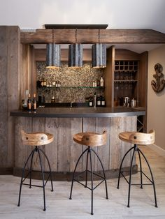 Home Bars, Bar Ideas, Basement Ideas, Basements, Basement