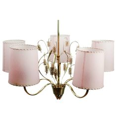 Finnish Chandelier by Paavo Tynell in Brass Glass and Parchment Shades, 1940s | From a unique collection of antique and modern chandeliers and pendants at https://www.1stdibs.com/furniture/lighting/chandeliers-pendant-lights/