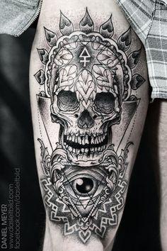 _ skull & eye of providence dotwork tattoo by daniel meyer _
