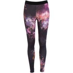 Bardot Galaxy Legging (€14) ❤ liked on Polyvore featuring pants, leggings, bottoms, jeans, calças, multi, tall leggings, thin leggings, space print leggings and elastic waist pants