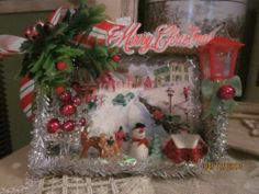 vintage inspired Christmas shadow box bottle brush tree old town glittery snowma