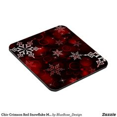 Chic Crimson Red Snowflake Motif Beverage Coaster Beer Mugs, Coffee Mugs, Custom Coasters, Christmas Items, Drink Coasters, Holiday Treats, Christmas Card Holders, Hand Sanitizer, High Gloss