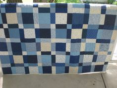 Blue and white quilt, lap quilt, handmade quilt