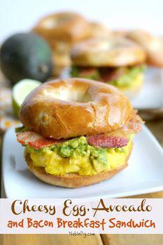 Cheesy Egg, Avocado and Bacon Breakfast Sandwich from NoblePig.com.