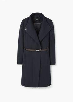 Wełniany płaszcz z paskiem | MANGO