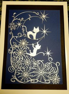 ((mie様用))切り絵 雪の結晶とネコ snow flakes, the cats  原画 Doodle Art Designs, Traditional Japanese Art, Snow Flakes, Kirigami, Cat Art, Paper Cutting, Coloring Books, Paper Art, Decoupage