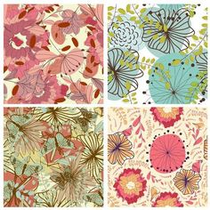 Floral Seamless Pattern Set by angelp Floral seamless vector pattern set. Fully editableEPS CSversion and high resolutionRGBjpeg. For making seamless composition just u Pattern Illustration, Graphic Illustration, Vector Pattern, Digital Pattern, Portfolio Design, Designs To Draw, Backdrops, Bird Branch, Flower Graphic