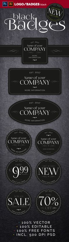 not just black Badges Just fill in your text, pick a color and you are ready to go. FEATURES - Compatible with Adobe InDesign - AI, PDF, PSD - 9 Badges - 5 Cosmetics Mockup, 100 Free Fonts, Adobe Indesign, Grafik Design, Badge, Templates, Black, Easy, Advertising