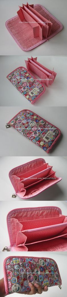 Sweet Pinkie L ong Wallet Sew Wallet, Fabric Wallet, Fabric Bags, Fabric Crafts, Sewing Crafts, Sewing Projects, Diy Projects, Purse Patterns, Sewing Patterns