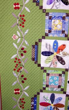 Cherry border detail 1 from Tokyo Quilt Festival Beautiful Patchwork Quilting, Applique Quilts, Hand Quilting, Machine Quilting, Quilting Tutorials, Quilting Projects, Quilting Designs, Patch Quilt, Quilt Blocks