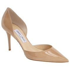 Pre-owned Jimmy Choo Addison D'orsay Patent Nude Pumps ($300) ❤ liked on Polyvore featuring shoes, pumps, nude, pointy-toe pumps, jimmy choo shoes, stiletto pumps, pointed-toe pumps and patent leather shoes