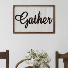 """""""Gather"""" Farmhouse Framed Wall Decor - Inspirational Home Country Decor Give your kitchen or living room a welcoming feel with this Stratton Home Decor """"Gather"""" farmhouse framed wall decor. Farmhouse Frames, Farmhouse Wall Decor, Country Decor, Rustic Decor, Farmhouse Style, Modern Farmhouse, Farmhouse Interior, Frame Wall Decor, Frames On Wall"""