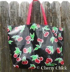 Cherry Market Tote, Beach Bag, Yoga Bag, Gym Bag #Cherries #Rockabilly #Oilcloth