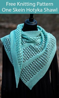 Free Knitting Pattern for One Skein Hotyka Shawl - Asymmetric triangular lace shawl knit with alternating sections of garter stitch and a 10 row lace. Designed by Klára Nagy. Uses one skein, 402 m / 440 yards of Fingering weight yarn. Easy Knitting, Knitting Socks, Loom Knitting Scarf, Knit Or Crochet, Crochet Shawl, Knit Shawls, Free Knit Shawl Patterns, Knitting Patterns For Scarves, Knitted Scarves