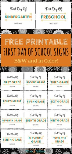 Back to school / First day of school printable signs FREE! In color or black & white. Capture the special moment of the first day of school this year.