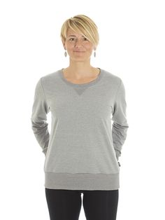 Style #L1G - Women's Crew-neck Sweater - French Terry  50% Organic Cotton / 50% Recycled Polyester– 10oz Available in Heather Navy – Heather Black – Heather Red – Heather Grey