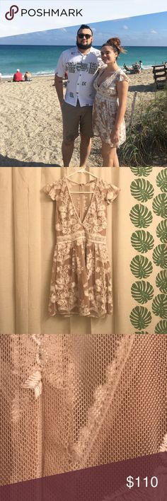 For love and lemons Temecula dress Very sweet deep v mini dress. I got this from another posher and wore it for Christmas. I absolutely love this dress but it is definitely an event dress. Tiny tear and a pull as pictured but not noticeable when worn. Hidden pockets and ruffle sleeves that are just wonderful! For Love And Lemons Dresses Mini