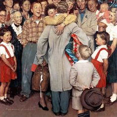 Marmont Hill Christmas Homecoming Norman Rockwell Painting Print on Canvas