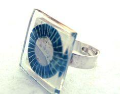 """Anillo de vidrio """"blue sun"""".Hecho a mano.Artístico - hecho a mano por BGLASSbcn en DaWanda"""
