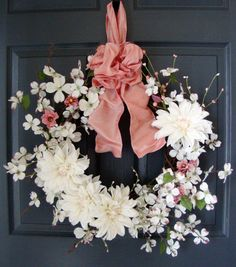 Spring Wreaths, Dogwood, Front Door Wreaths, Spring Door Wreaths, Easter Wreaths, French Country, Wreath, Dahlias, Wreaths, Etsy Wreaths on Etsy, $105.00
