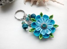 Blue Beaded Keychain/Charms Keychain/ Gemstone by AirinFlowers #CharmKeychain #Keyring #BeadedKeychain #KeychainsForWomen #kanzashi #WomensKeychains #BeadKeychain #Handmade #Sale #Etsy #Gifts #Accessories #Beads