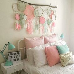 Dreamcatcher decor colours more dream catcher bedding, My New Room, My Room, Little Girl Rooms, Home And Deco, Dream Bedroom, Dream Catcher Bedroom, Diy Dream Catcher, Dream Catcher Quotes, Dream Catcher Painting