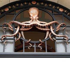 """Octopus archictectural detail on the façade of Institut Océanographique, Rue Saint-Jacques, Paris. """"Oh, the irony of Art Nouveau. Art Nouveau, Art Deco, Le Kraken, Rue Saint Jacques, Deco Restaurant, Octopus Art, Octopus Decor, Sculpture, Dieselpunk"""