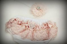 Vintage Shabby Chic White, Pink Lace baby girl nappy cover,  diaper cover, headband set, photography prop on Etsy, $34.38