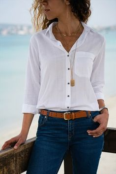 Casual Summer Outfits, Classy Outfits, Sexy Outfits, Spring Outfits, Cute Outfits, Fashion Outfits, Womens Fashion, White Shirt Outfits, White Shirts