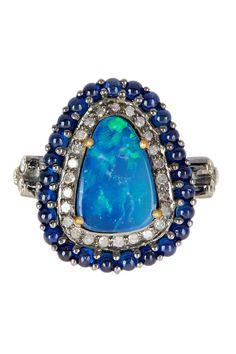 18K Gold Sapphire White Diamond & Opal Halo Ring | HauteLook