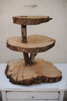 Rustic 3 tiered custom wood tree cupcake stand