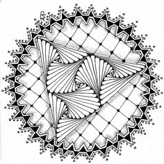 Zendala using the tangles Rain, Florz and Paradox by . The use of Rain as a border is outstanding Zentangle Drawings, Mandala Drawing, Doodles Zentangles, Zentangle Patterns, Doodle Drawings, Mandala Art, Doodle Art, Zantangle Art, Zen Art