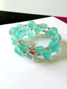 Dolphin seaglass bracelet, beach jewelry, seafoam light teal memory wire bracelet, womens wrap
