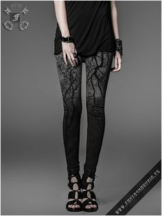 Leggins Black Metal Punk Rave Gothic Instagram 3XL grau schwarz Strega fashion