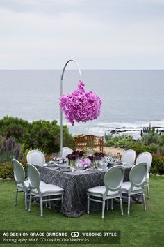 nautical hanging pink orchid tabletop ceremony decor idea