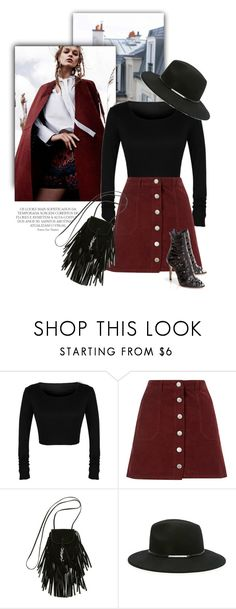 """Effortlessly Chic"" by luvsassyselfie ❤ liked on Polyvore featuring Miss Selfridge, Yves Saint Laurent, Forever 21, black and burgundy"